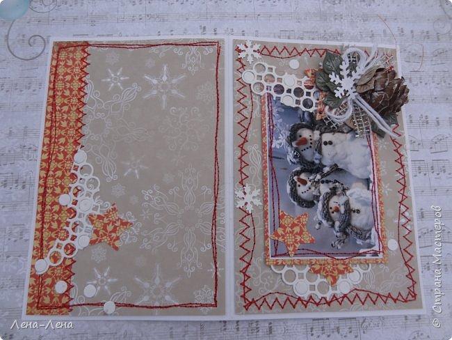 """Ещё в прошлом году начала делать открыточки с этими милыми снеговичками, да что-то замоталась, и они так и остались в недоделках...Сейчас их """"реанимировала"""", к Новому году успевают! Уже настрочила, так настрочила - чего зазря машинку швейную настраивать!)) фото 7"""