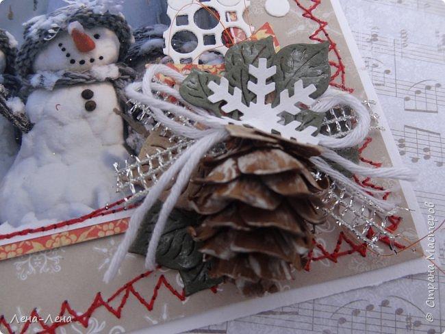 """Ещё в прошлом году начала делать открыточки с этими милыми снеговичками, да что-то замоталась, и они так и остались в недоделках...Сейчас их """"реанимировала"""", к Новому году успевают! Уже настрочила, так настрочила - чего зазря машинку швейную настраивать!)) фото 8"""