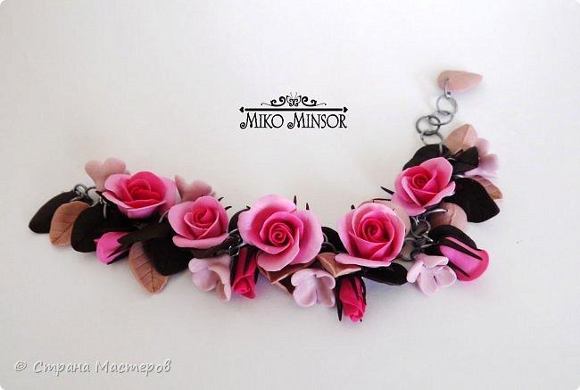 """Браслет с розами в цветовой гамме """"Розовый крем и шоколад"""". фото 2"""