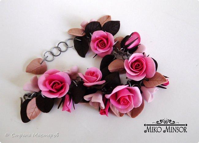 """Браслет с розами в цветовой гамме """"Розовый крем и шоколад"""". фото 1"""