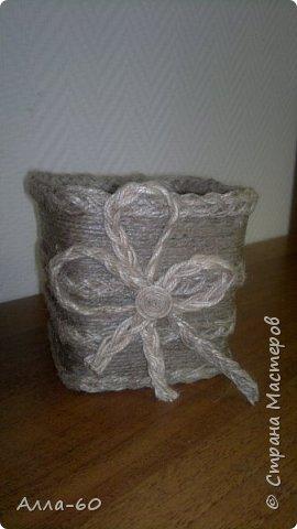 Коробка для пряжи сделана из джутовой нити! фото 3