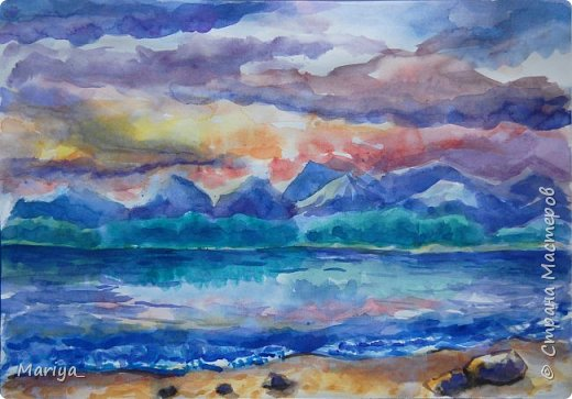 Рисуем пейзаж, море на закате. Акварель. Видео мастер-класс. фото 2