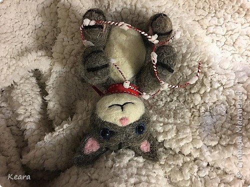 Котенок сделан из необработанной козлиной шерсти, глазки стеклянные. фото 2