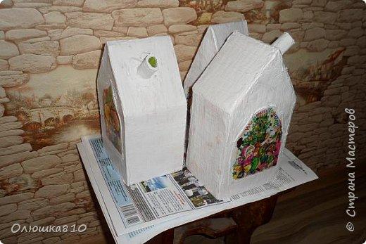 """Здравствуйте! Сегодня с проектом """"Снежный город"""" и рассказом, как сделать домик из подходящей картонной коробки. Вначале фото. На первом фото домик из фанеры. Был у меня небольшой кусочек фанеры 40 на 70 см. Вот что получилось.  фото 21"""