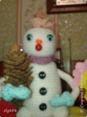 Доброе время суток. Меня зовут Шишечка.. Я еще маленькая  снежная девочка... губки бантиком и очень нежная....На головке цветочек  (не к лицу мне ведро и горшочек), вот и еловую шишку прихватила . Елки не только под Новый год  рубить  и украшать, но и пора сажать фото 1