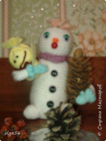 Доброе время суток. Меня зовут Шишечка.. Я еще маленькая  снежная девочка... губки бантиком и очень нежная....На головке цветочек  (не к лицу мне ведро и горшочек), вот и еловую шишку прихватила . Елки не только под Новый год  рубить  и украшать, но и пора сажать фото 2