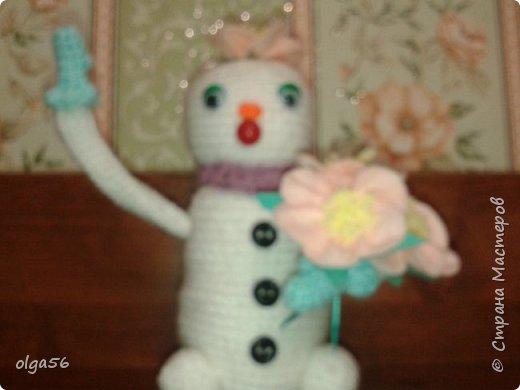Доброе время суток. Меня зовут Шишечка.. Я еще маленькая  снежная девочка... губки бантиком и очень нежная....На головке цветочек  (не к лицу мне ведро и горшочек), вот и еловую шишку прихватила . Елки не только под Новый год  рубить  и украшать, но и пора сажать фото 3