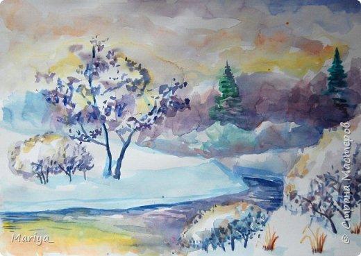 Рисуем зимний пейзаж акварелью. Видео мастер-класс. фото 2