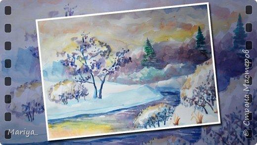 Рисуем зимний пейзаж акварелью. Видео мастер-класс. фото 1