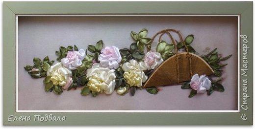 """Дорогие друзья! Представляю Вашему вниманию мою новую работу по принту """"Панорамные розы"""". Размер 455*230 мм. Атласные ленты с тонированием вышитых роз желтым и розовым акрилом.  На выставке рукоделия я приобрела уже готовый набор для вышивки (с лентами, красками и деревянной заготовкой для """"корзины"""" - я только обработала ее морилкой). Вот что у меня получилось :-) Картина в рамке-коробке, со стеклом (ее уже заказывала в багетной мастерской) фото 1"""