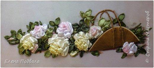 """Дорогие друзья! Представляю Вашему вниманию мою новую работу по принту """"Панорамные розы"""". Размер 455*230 мм. Атласные ленты с тонированием вышитых роз желтым и розовым акрилом.  На выставке рукоделия я приобрела уже готовый набор для вышивки (с лентами, красками и деревянной заготовкой для """"корзины"""" - я только обработала ее морилкой). Вот что у меня получилось :-) Картина в рамке-коробке, со стеклом (ее уже заказывала в багетной мастерской) фото 2"""