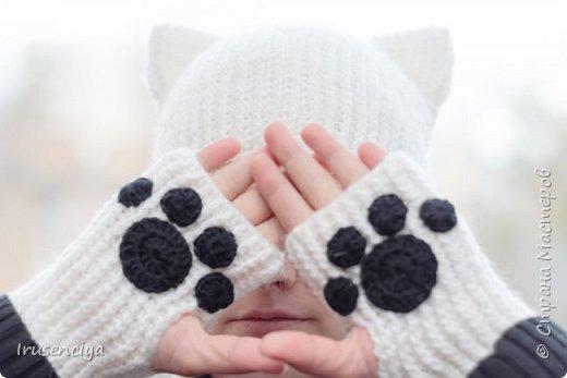 Мой старший детёныш так долго болел, что я решила её хоть как-то порадовать. Поэтому связала для неё шапку с кошачьими ушками и митенки с кошачьими лапками. фото 1