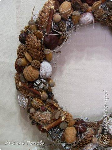 Венок из природных материалов. Основа - виноградная лоза. фото 3