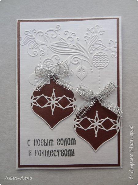 Вот такие простенькие и быстренькие открыточки помогла сделать новогодняя папка для тиснения.)) фото 4