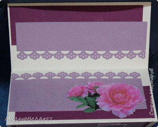Здравствуйте жители и гости Страны Мастеров!Эту открытку я сделала для своей любимой тети на юбилей.Она любит сиреневый цвет и пионы,вот я и постаралась всё это совместить. фото 6