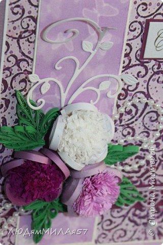 Здравствуйте жители и гости Страны Мастеров!Эту открытку я сделала для своей любимой тети на юбилей.Она любит сиреневый цвет и пионы,вот я и постаралась всё это совместить. фото 13