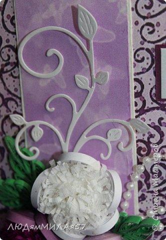 Здравствуйте жители и гости Страны Мастеров!Эту открытку я сделала для своей любимой тети на юбилей.Она любит сиреневый цвет и пионы,вот я и постаралась всё это совместить. фото 15