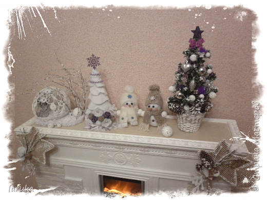 Рождественские звёздочки из гофрокартона. Простенькие, но нравится этот материал.  Использовала веточки, шишки, джут, фетр, флис, блёстки...  фото 16