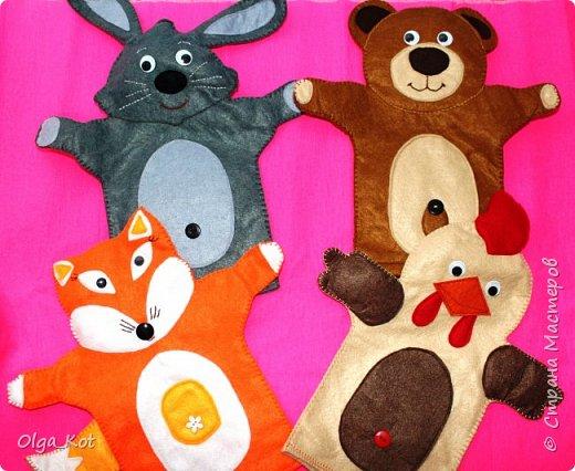 И еще рукавички для кукольного театра (ДЕД,БАБКА. ВОЛК,ЛИСА, ЗАЯЦ, КУРОЧКА, КОЛОБОК,МЕДВЕДЬ) фото 1
