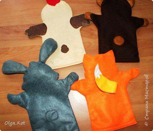 И еще рукавички для кукольного театра (ДЕД,БАБКА. ВОЛК,ЛИСА, ЗАЯЦ, КУРОЧКА, КОЛОБОК,МЕДВЕДЬ) фото 4