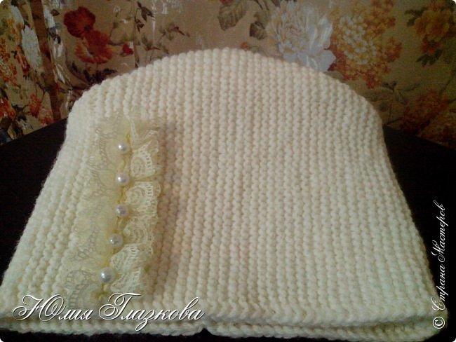 Связалась шапочка  с кружевом к зимнему наряду. фото 5