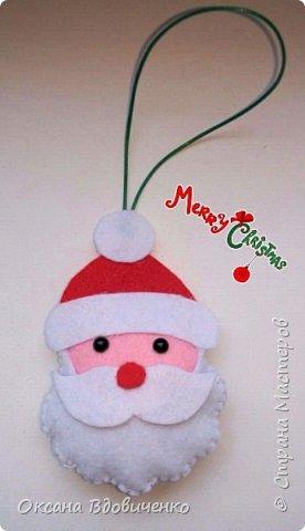 Новогодние игрушки из фетра фото 3