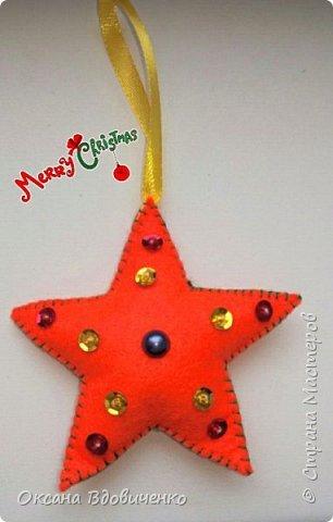 Новогодние игрушки из фетра фото 4