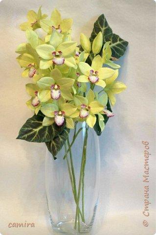 Всем приветик, я с новым букетиком! Захотелось мне слепить Цимбидиумы, но молдов подходящих не оказалось и получился новый сорт орхидеи. фото 1