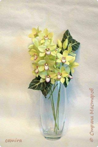 Всем приветик, я с новым букетиком! Захотелось мне слепить Цимбидиумы, но молдов подходящих не оказалось и получился новый сорт орхидеи. фото 4
