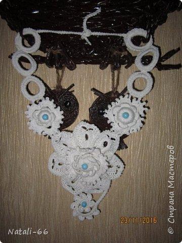 Привет всем моим соседям! Хочу показать вам еще одну пробу пера , еще одно украшение фантазийное и экпериментальное)) , выполнено из простых белых швейных ниток. фото 4