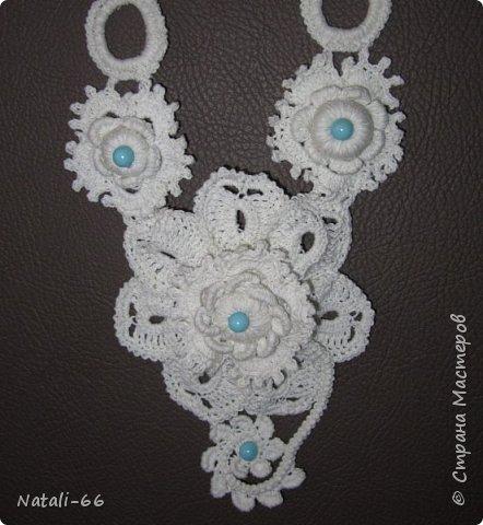 Привет всем моим соседям! Хочу показать вам еще одну пробу пера , еще одно украшение фантазийное и экпериментальное)) , выполнено из простых белых швейных ниток. фото 3