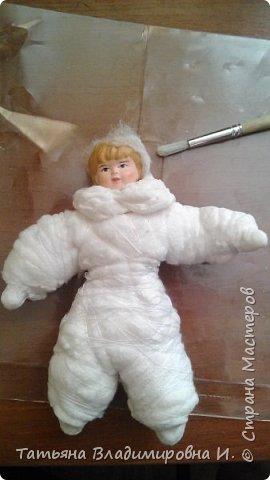 Ватная игрушка Мальчик-Зайчик сделан в стиле старых ватных игрушек.  фото 3