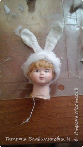 Ватная игрушка Мальчик-Зайчик сделан в стиле старых ватных игрушек.  фото 4