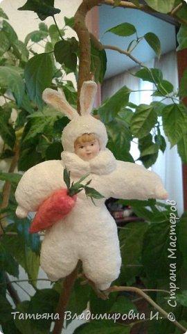 Ватная игрушка Мальчик-Зайчик сделан в стиле старых ватных игрушек.  фото 1