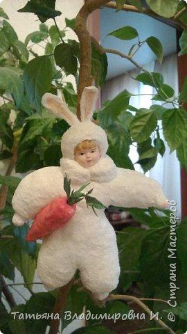 Ватная игрушка Мальчик-Зайчик сделан в стиле старых ватных игрушек.  фото 10