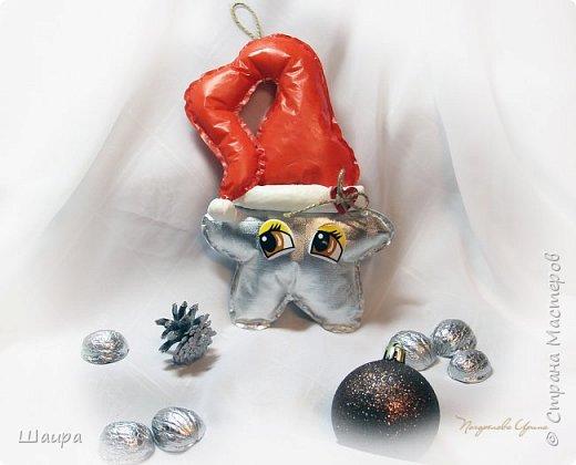 В продолжение темы елочных игрушек на городскую елку https://stranamasterov.ru/node/1061551.  Звездочка в шапочке 22 см. фото 1