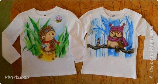 Данные футболочки рисовала для двойняшек-малышей. Заказ был на ежика и совенка - их любимых персонажей  фото 1