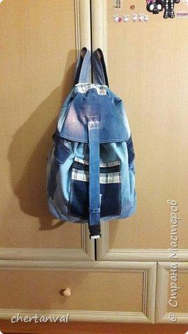 рюкзак шился для поездки в Киев.использованы джинсы 3-х видов и х/б рубашка на подклад фото 1
