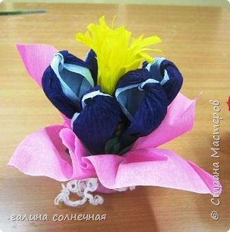 Поздравляю всех мам и бабушек с праздником МАМЫ. Пусть дети радуют вас и дарят вам цветы. Гофробумага, кусочек пластилина, зубочистки, ножницы и желание сделать букет- вот, что надо. 5 цветов крокусов завязала ниткой у основания, внутри каждого по зубочистке. Зубочистки воткнула в кусочек пластилина. Гофробумагой розового и зеленого цвета обвернула букет и снаружи обвязала белой ниткой. В центр добавила кусочек свернутой, желтой, надрезанной гофробумаги, которая тоже с зубочисткой в пластилине. Да, цветы из гофробумаги (для цветов), их надо увеличить, растянув бумагу пальцами, создав объем. Мальчики  и девочки сделали свои букеты. Выбор, форма букета по их желанию. фото 1