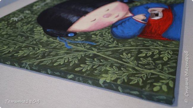 """Нарисовала несколько картин-копий Е. Гапчинской. С некоторыми изменениями оригиналов. Есть и придуманный мной персонаж по мотивам картин Гапчинской. Итак, первая картина """"Жук в коробочке..."""". Немного изменен фон. фото 2"""