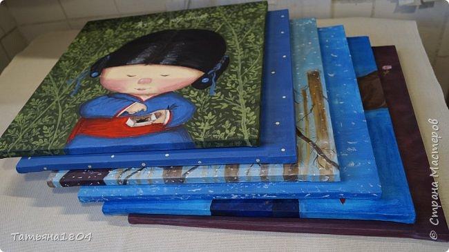 """Нарисовала несколько картин-копий Е. Гапчинской. С некоторыми изменениями оригиналов. Есть и придуманный мной персонаж по мотивам картин Гапчинской. Итак, первая картина """"Жук в коробочке..."""". Немного изменен фон. фото 14"""