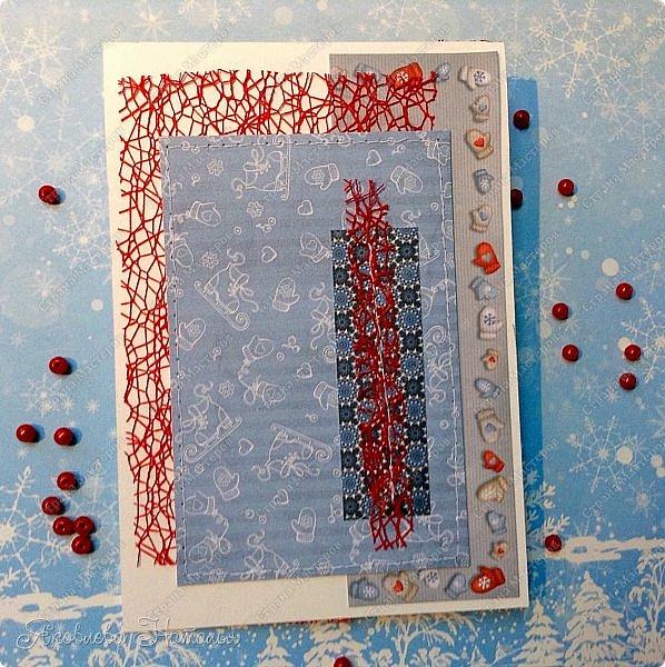 Здравствуйте, соседи! Хочу показать вам ещё пару открыток, которые у меня родились к Новому году. Они как-то парочками появляются))) Эта первая. Не стала делать надписи. Вдруг человек решит подарить не на Новый год, а например, на день рождения, который будет зимой. фото 3