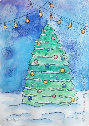 Рисуем открытки на Новый год и Рождество акварелью, линером и солью. Новогодняя ёлка, снеговик. Видео мастер-класс. фото 2