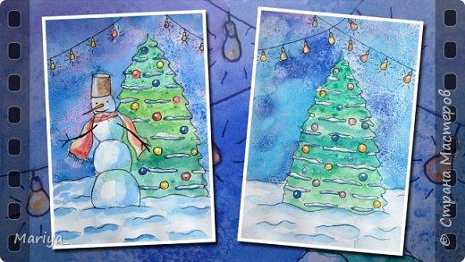 Рисуем открытки на Новый год и Рождество акварелью, линером и солью. Новогодняя ёлка, снеговик. Видео мастер-класс. фото 1