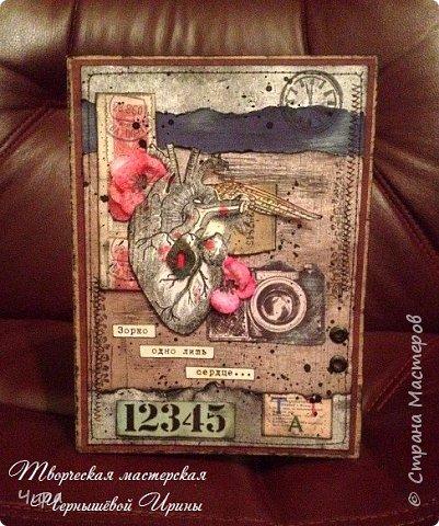 """Здравствуйте, уважаемые мастера,друзья! Сегодня хочу показать некоторые из своих работ. В этом посте будут мужские открытки. Первая открытка для чиновника,просили строго и в бархате ) По бокам """"богатая"""" бархатная бумага. фото 7"""