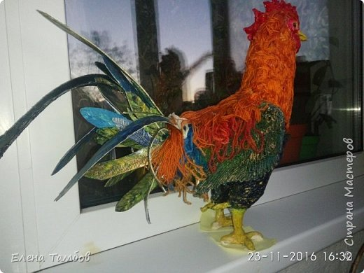 Продолжение поста о создании курицы. Выкладываю новую поделку - Золотого Петушка. Гордая, красивая птица. фото 3