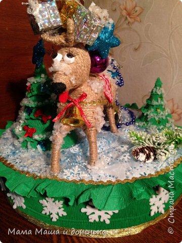 """Всем доброго времени суток, я к вам с очередным своим творением)))) В прошлом году мы  с дочкой делали новогоднего оленя http://stranamasterov.ru/node/976603 , и вот в этом году одна моя хорошая знакомая попросила   ей тоже  сделать """"Новогоднего оленя""""  фото 1"""