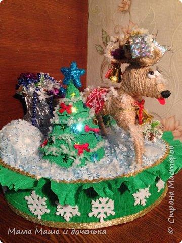 """Всем доброго времени суток, я к вам с очередным своим творением)))) В прошлом году мы  с дочкой делали новогоднего оленя http://stranamasterov.ru/node/976603 , и вот в этом году одна моя хорошая знакомая попросила   ей тоже  сделать """"Новогоднего оленя""""  фото 2"""