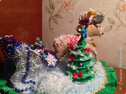 """Всем доброго времени суток, я к вам с очередным своим творением)))) В прошлом году мы  с дочкой делали новогоднего оленя http://stranamasterov.ru/node/976603 , и вот в этом году одна моя хорошая знакомая попросила   ей тоже  сделать """"Новогоднего оленя""""  фото 6"""