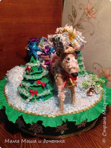 """Всем доброго времени суток, я к вам с очередным своим творением)))) В прошлом году мы  с дочкой делали новогоднего оленя http://stranamasterov.ru/node/976603 , и вот в этом году одна моя хорошая знакомая попросила   ей тоже  сделать """"Новогоднего оленя""""  фото 8"""